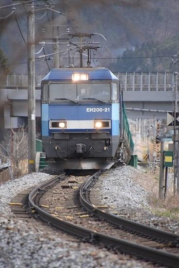 2021年4月3日撮影 篠ノ井線貨物2084レ EH200-21号機 ストレート終点
