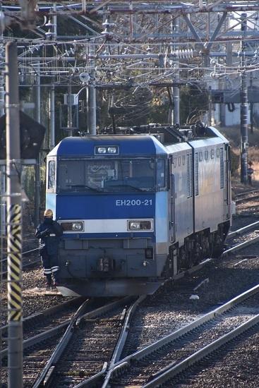 2021年1月30日撮影 南松本にて東線貨物2080レ機回し 本線横断
