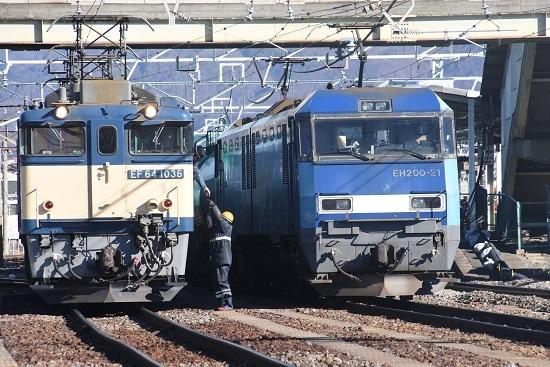2021年1月30日撮影 南松本にて 西線貨物8084レ 機回し 無線機の返却