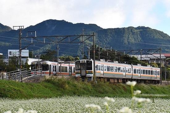 2021年9月19日撮影 飯田線は伊那新町駅にて 213系と313系の並び