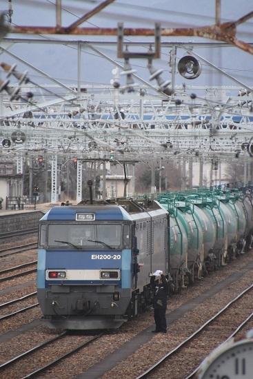 2021年1月16日撮影 南松本にて 東線貨物2080レ EH200-20号機 紙読み上げ