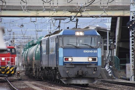 2021年1月16日撮影 南松本にて 東線貨物2080レ EH200-20号機 緑タキ連結