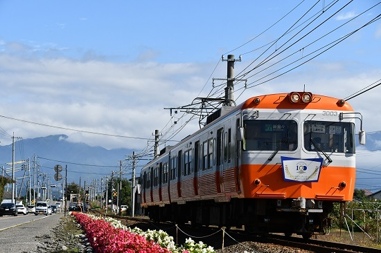 2020年10月11日撮影 アルピコ交通 3000系 モハ10復活塗装色と花