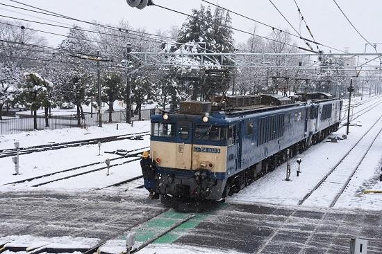 2021年1月24日撮影 南松本にて西線貨物8084レ 踏切通過