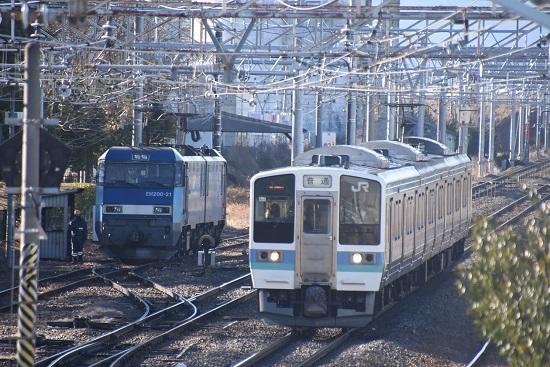 2021年1月30日撮影 南松本にて東線貨物2080レ機回し 211系退避