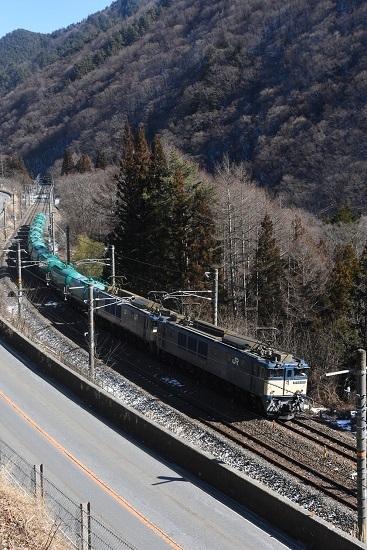 2021年1月30日撮影 西線貨物8084レ 日出塩→贄川 高い所からの撮影