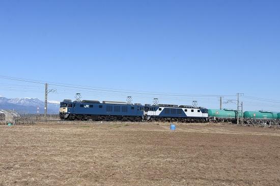 2021年2月6日撮影 西線貨物8084レ 原色+1020号機の更新色(JRFマーク無し)重連