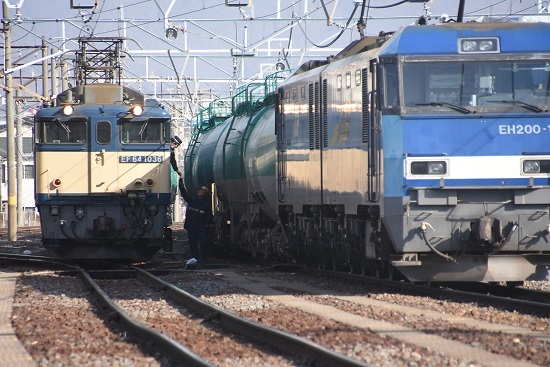 2021年2月7日撮影 南松本にて西線貨物8084レ 機回し終了 無線機返却