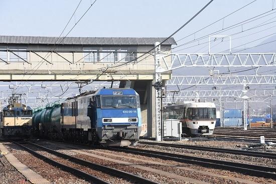 2021年2月7日撮影 南松本にて西線貨物8084レと東線貨物2080レとWVしなのの並び