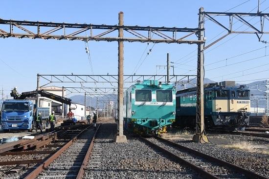 2021年2月13日撮影 南松本にてお休み中の釜とマルタイ 線路工事中
