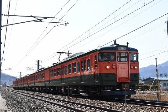 2021年3月7日撮影 しなの鉄道 115系湘南色5連 長野への回送
