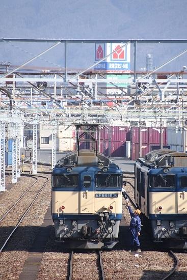 2021年2月21日撮影 南松本にて 西線貨物8084レ機回し 無線機渡し