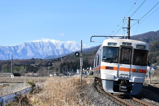 2021年3月14日撮影 飯田線 回送 313系 アルプスをバックに 後撃ち
