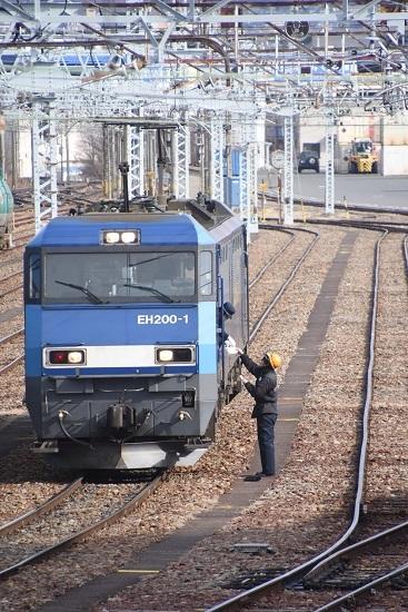 2021年2月27日撮影 南松本にて東線貨物2080レ メモを渡す