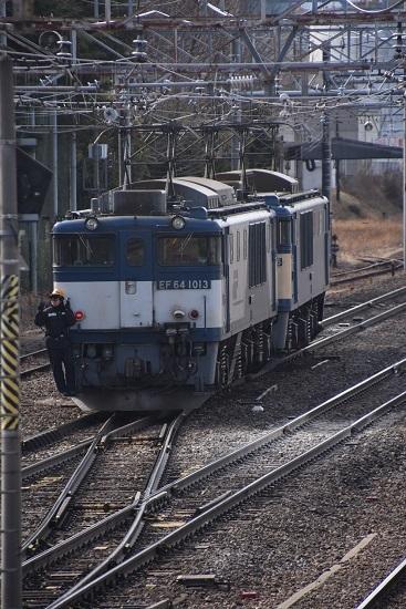 2021年2月27日撮影 西線貨物8084レ EF64-1016号機を先頭にバック運転