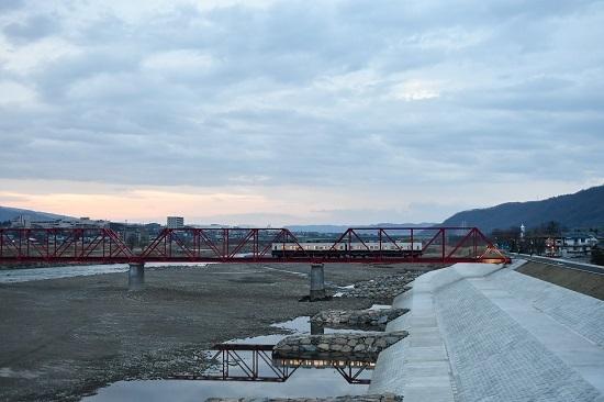 2021年3月28日撮影 上田電鉄別所線全線開通 1000系上り回送 千曲川橋梁