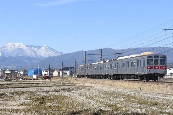 2021年2月28日撮影 長野電鉄 飯縄山をバックに8500系