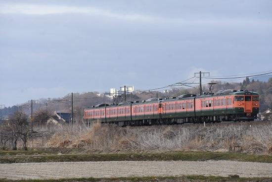 2021年3月7日撮影 しなの鉄道 314M 115系湘南色5両編成 後撃ち