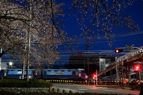 2021年4月10日撮影 早朝の南松本にて桜と坂城貨物2085レ EH200-24号機