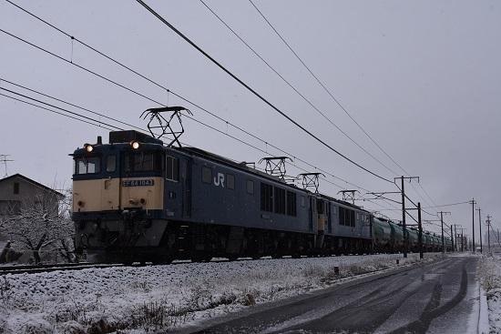 2021年3月13日撮影 西線貨物6088レ 雪が降る中を行く
