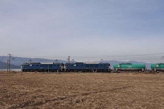 2020年12月29日撮影 西線貨物8084レ EF64-1021+1033号機 アルプスをバックに
