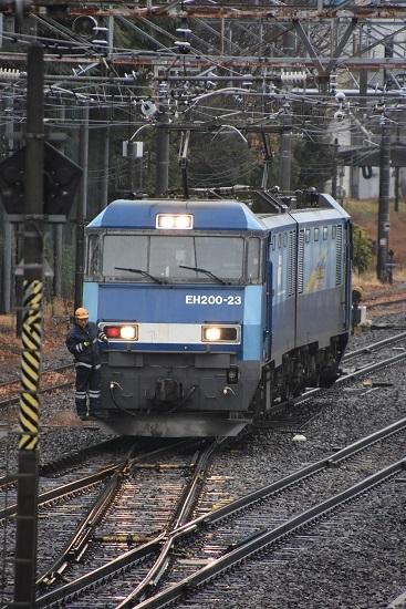 2020年12月30日撮影 東線貨物2080レ機回し ライト点灯のバック運転