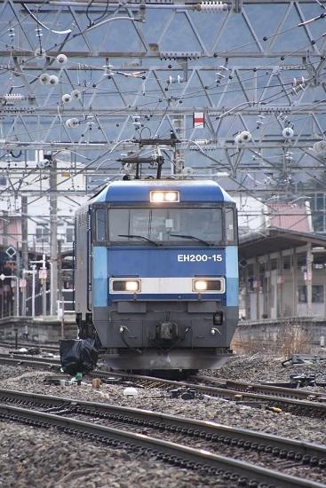 2021年3月20日撮影 東線貨物2083レ EH200-15号機の単機回送 3番線通過