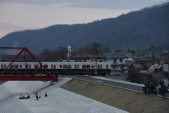 2021年3月28日撮影 上田電鉄別所線全線開通 1000系下り千曲川橋梁通過