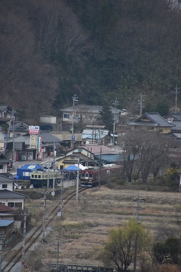 2021年3月28日撮影 上田電鉄別所線 6000系「さなだどりーむ号」 俯瞰撮影 別所温泉駅到着
