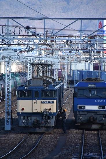 2021年1月4日撮影 南松本にて西線貨物8084レ EF64-1021+1033号機の機回し 1
