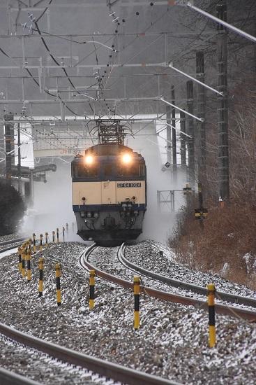 2021年1月9日撮影 西線貨物6088レ 雪を舞い上げて 正面狙い
