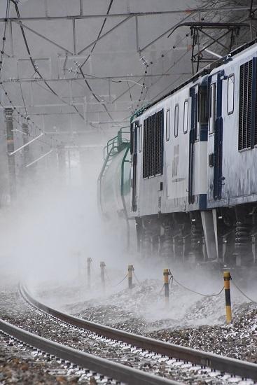 2021年1月9日撮影 西線貨物6088レ 雪を舞い上げて
