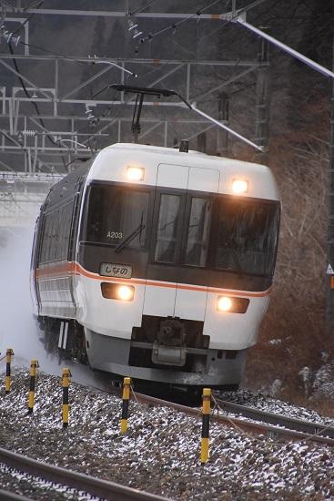 2021年1月9日撮影 1004M 383系 「WVしなの4号」雪を舞い上げて 2