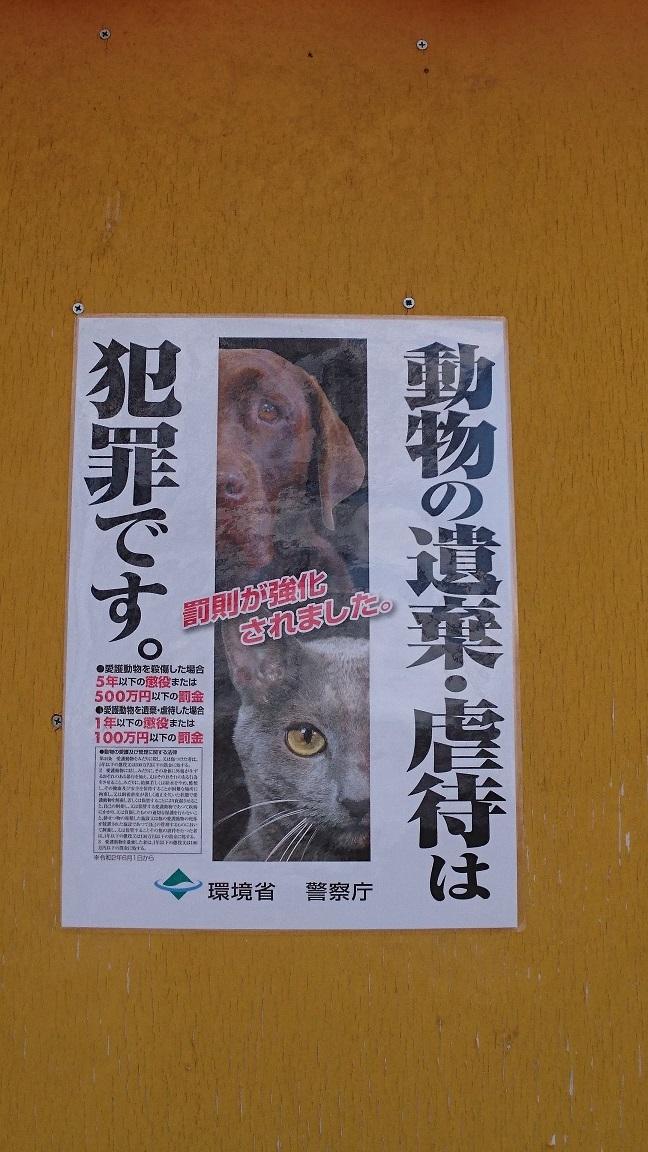 看板様々な種類のアジサイが植えてあるエリアの小屋にも環境省の《動物の遺棄・虐待は犯罪です》の新しいポスターが掲示されていました。