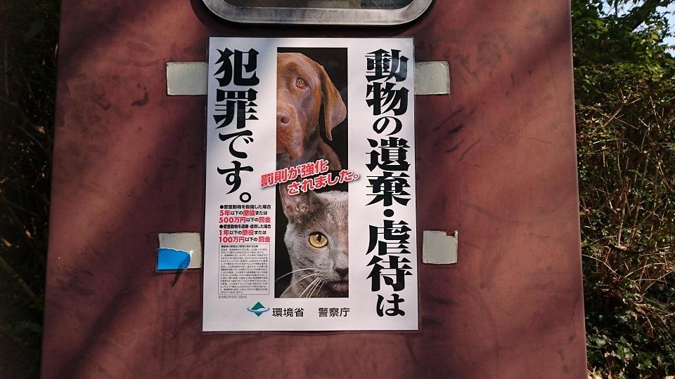 ma41月30日の時点では、展望塔のすぐ下にあった《犬猫を捨てることは犯罪!捨てたら罰金100万円以下、虐待したら罰金200万円以下》の動物愛護法改正前の古い貼り紙が外され、その下に隠れていた《猫のフンに困っています》の古い貼り紙が剥き出しになっていましたが、2月7日に確認すると、古い貼り紙は撤去され、環境省の新しいポスターが貼られていました。