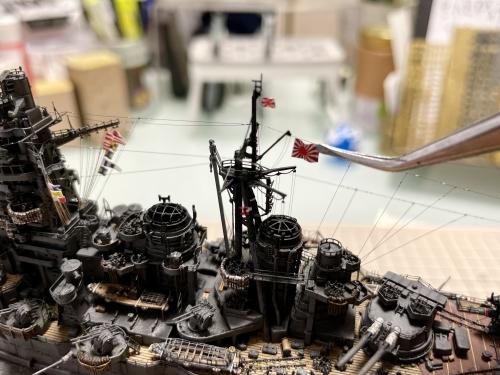 日本海軍 高速戦艦『金剛(1944年 サマール沖海戦時)』 製作中 戦闘旗取り付け E7fwRrOUcAAJ3zf◆模型製作工房 聖蹟