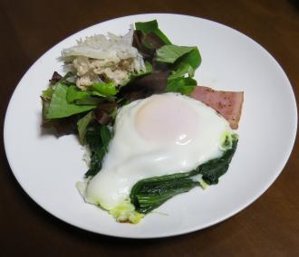 ホウレンソウのお浸しの卵とじ
