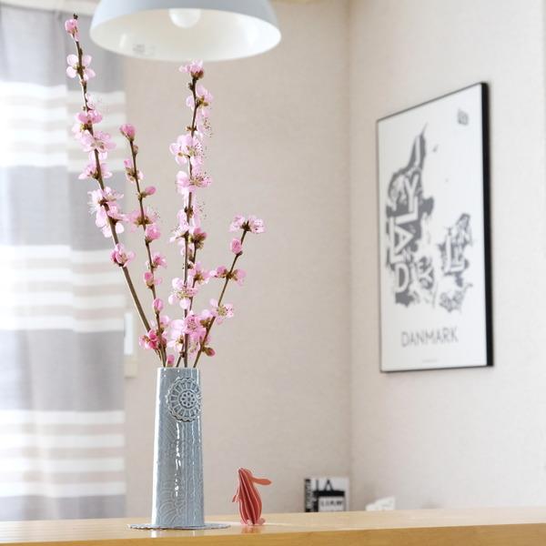 KOZLIFE・dottir(ドティエ)フラワーベース・Sサイズ・ダークグレー・桃の花①