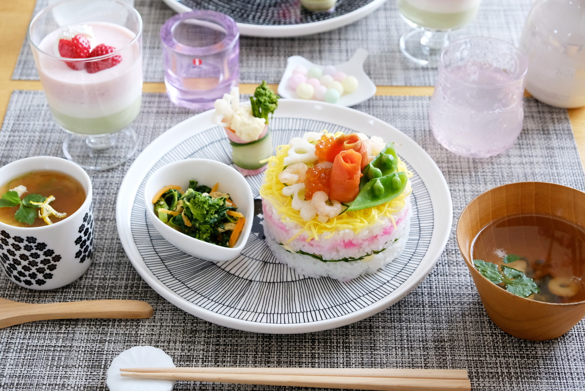 2021年3月ひな祭り・ちらし寿司ケーキ・ダイソー・セルクル型①