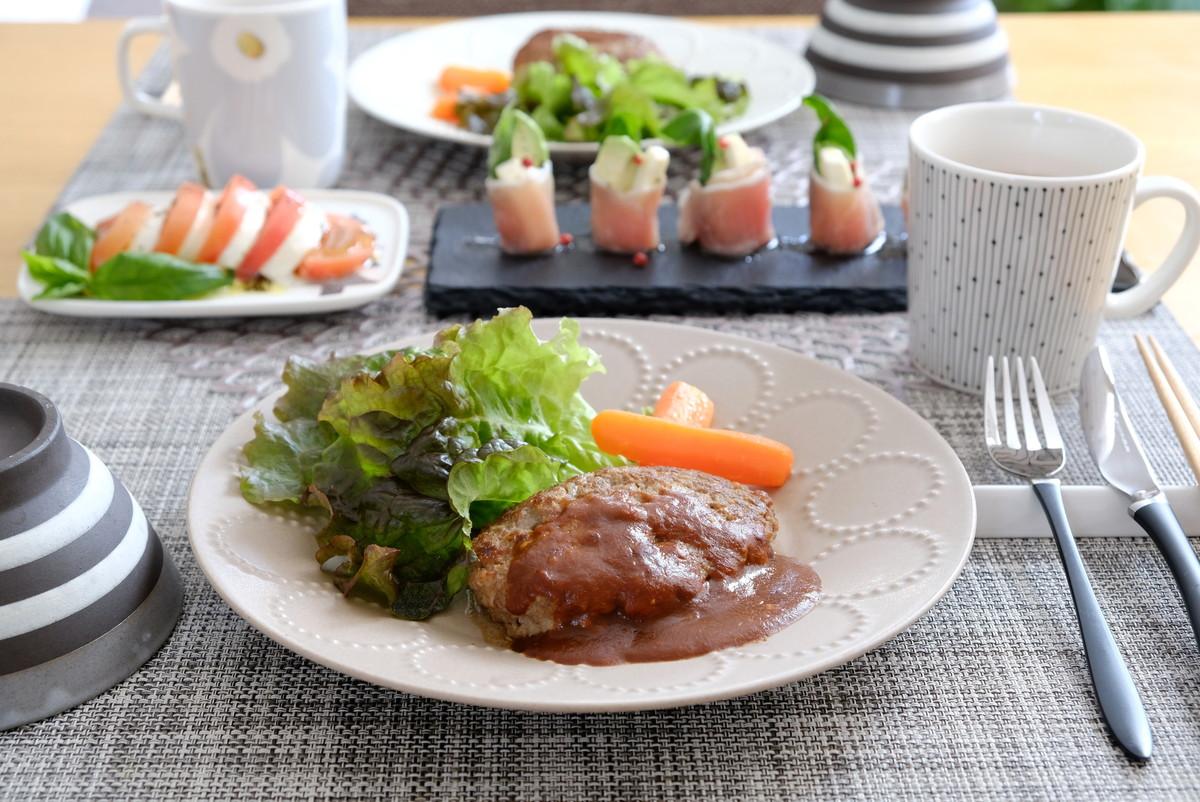 ミナペルホネン・タンバリン・プレート・ライトブラウン・ハンバーグ①